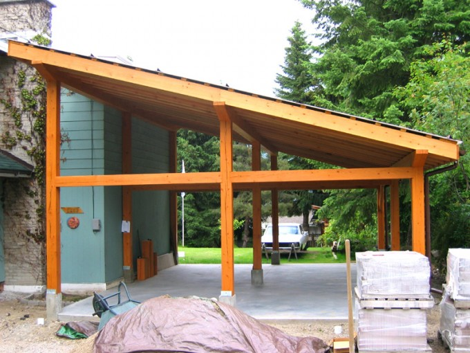 A post and beam structure will give the look and feel of a timber structure  in a much shorter time frame, as bolts are used instead of wood joinery. - Post & Beam Carport TRC Timberworks